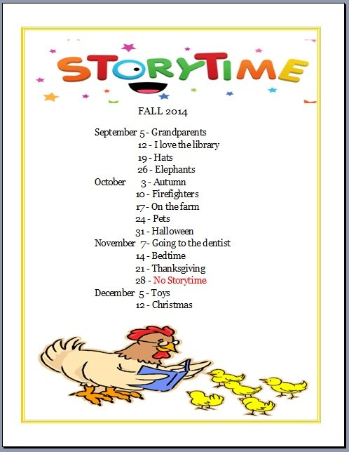 Storytime Fall 2014 Schedule