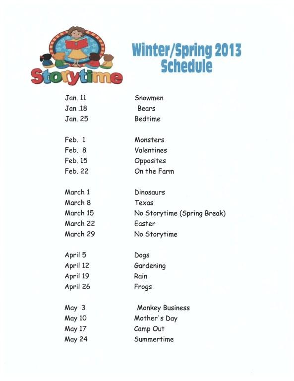 storytime spring 2013