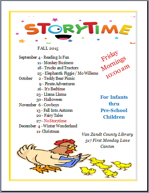 Fall 2015 Storytime Schedule
