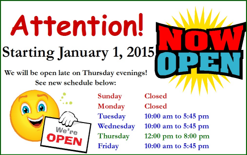 New Hours 2015